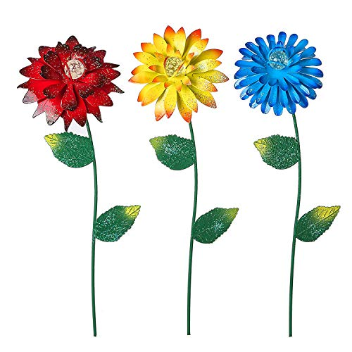 Bloom Valley Floral Garden Stake Tricolor Outdoor Glow in Dark Plant Pick Water Proof Metal Flower Stick Décor for Lawn Yard Patio,3 PCS