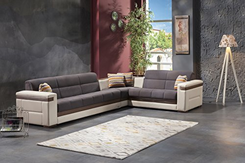 Moon Sectional Sofa Bed in Zigana Grey Free curb side delivery in continenatal US