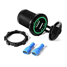 XCSOURCE Universal Dual USB Charger Socket with Green LED Light 5V 1A 2.1A for Smartphones Tablets Car Boat Marine BI259