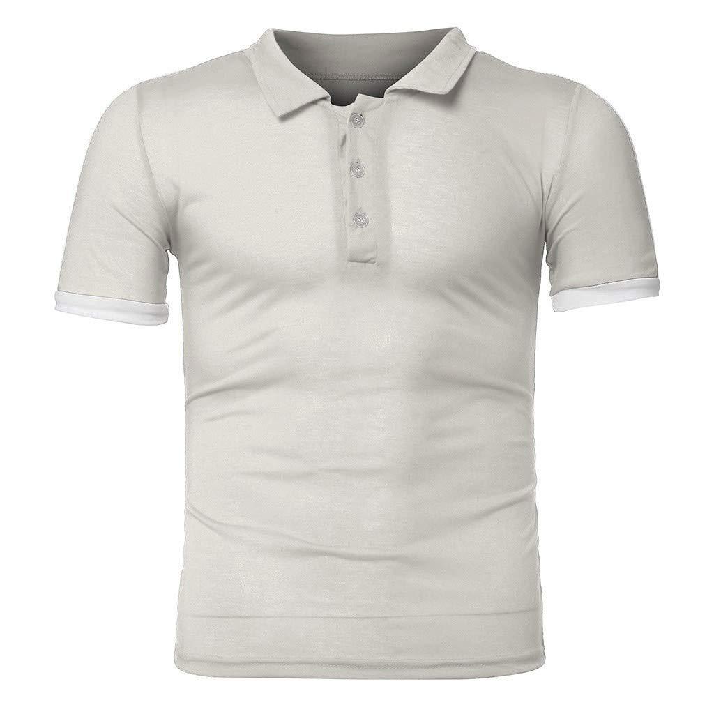 Men Fashion Casual Slim Fit Basic Henley Short Sleeve T-Shirt Classic Comfort Top Blouse