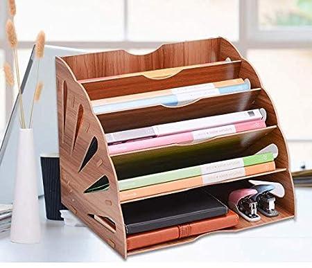 Hi/_Smile Wooden File Organizer Mehrschichtiges Aktenregal Klassifizierungsrahmen f/ür Desktop-Dokumente Office Supplies/_Pink