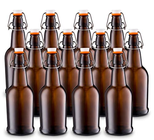 Home Brewing Glass Beer Bottle with Easy Wire Swing Cap & Airtight Rubber Seal -Amber- 16oz - Case of 12 - by Tiabo ()