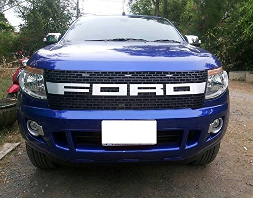 Raptor Front Matte Black Hood Grille with L.E.D light for Ford Ranger T6 Xlt Px Wildtrak 2012-2014 (V.1WHITE