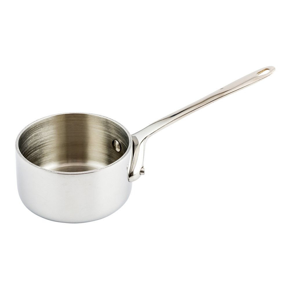 Restaurantware RWM0069C Mini Sauce Pan 2 Inch Single Count Serve Small Appetizers Desserts /& More Easy Pour Lip Side Dishes Copper Ply Sauce Pan