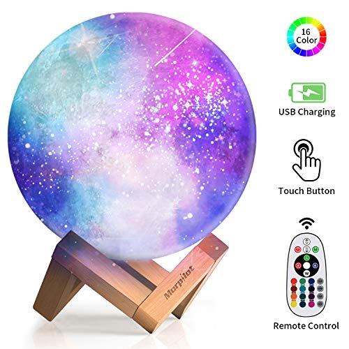 Moon Lamp, Keenstone 3D Print Moon lamp 16 Colors Moon Light Lamps Home Decorative Romantic with Remote & Touch Control and USB Recharge for Baby Kids Lover Birthday Gifts 5.9 inch (Table Novelty Lamp)