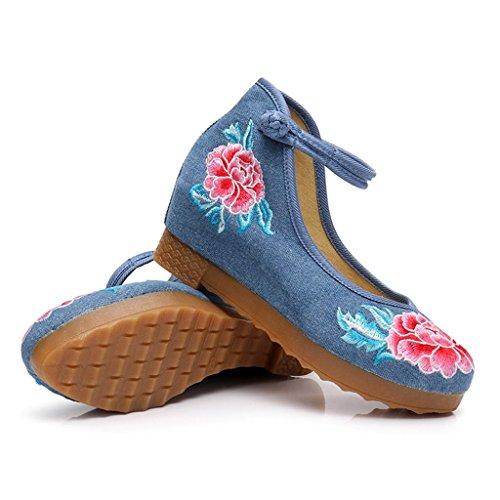 sogno Blue tacco in ricamate Colore dimensioni piatte eleganti da alto Scarpe nazionale cinese a Scarpe Chaser stile da di balletto Scarpe sposa 35 Blue stile pS5FwXq