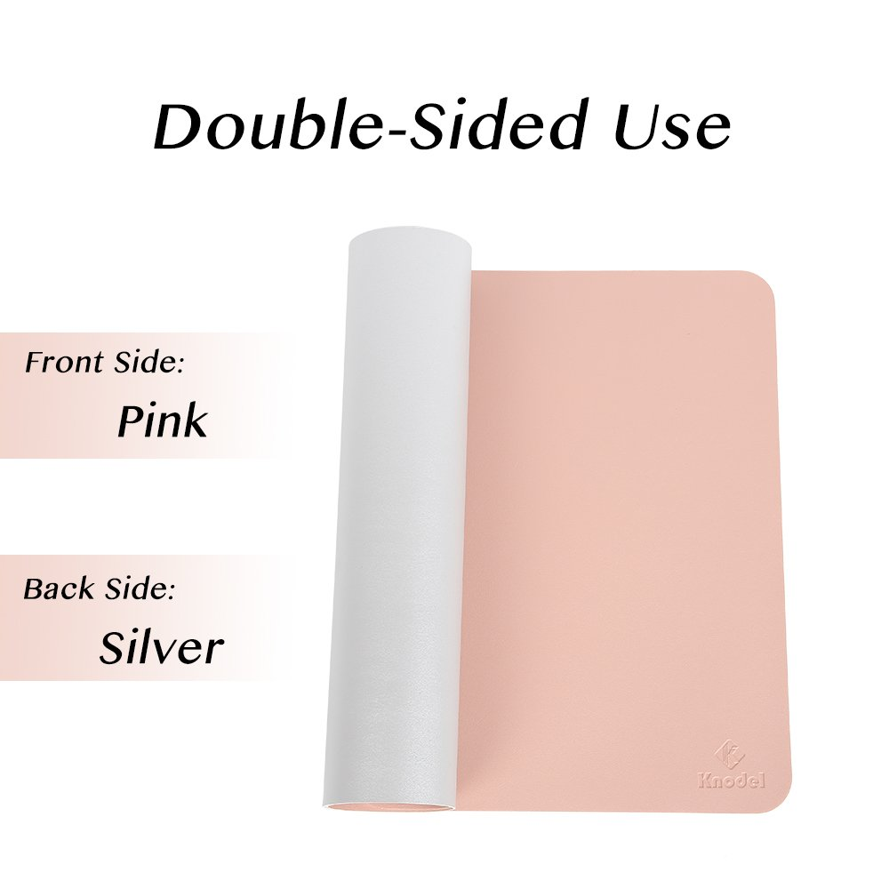 Knodel Desk Pad Protector, 31.5'' x 15.7'' PU Leather Blotter, Rectangular Laptop Desk Mat, Non-Slip Mouse Pad, Waterproof Gaming Writing Mat for Office and Home, Dual-Sided (Pink/Silver) by Knodel (Image #3)