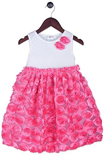 Joe-Ella Baby Girls' Kid'S Sleeveless Rosette Dress, White/Pink, 18M (Rosette Sleeveless)