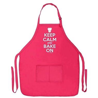 ThisWear Keep Calm Bake On Funny Apron Kitchen Baker Baking Two Pocket Apron Women Men Heliconia