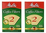 Melitta Cone Coffee Filter #2 100 Count- Natural Brown (Pack Of 2)