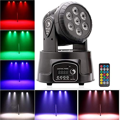 (U`King 70W Stage Lighting Moving Head Light RGBW 9/14 Channels LED Spot Light Sound Activated with Remote and DMX Controlled for Disco DJ Club Bar Party)