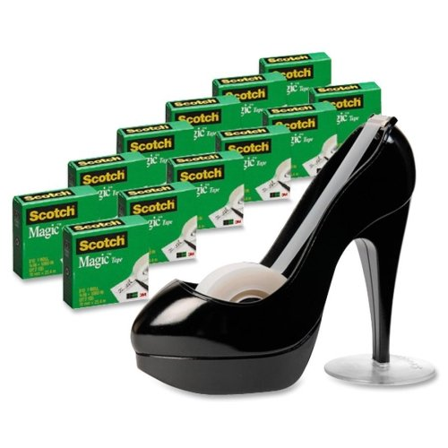 Scotch 810K12C30B Magic Tape Designer Dispenser Value Pack, High-Heel Shoe, 3/4