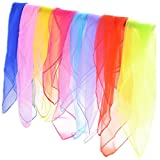 Lakikey 16pcs Square Juggling Silk Dance Scarves Magic Tricks Movement Scarves