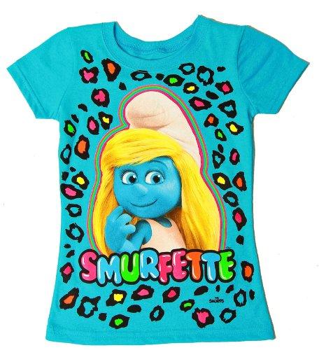Smurfette - Smurfette Girls T Shirt Blue (Blue, Med 7/8)