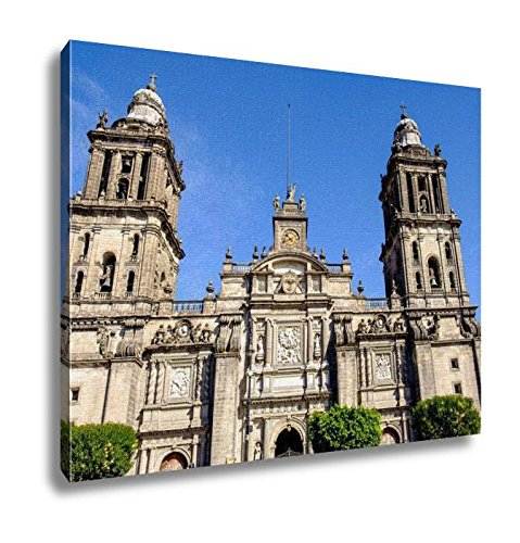 Ashley Canvas Front View Of Cathedral Metropolitana In Mexico City Wall Art Decor Stretched Gallery Wrap Giclee Print Ready to Hang Kitchen living room home office, 24x30 by Ashley Canvas