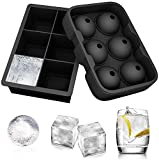 ALTMAN Ice Cube Trays 2 Pack Silicone Tray Set, Sphere Round Ice Ball Maker and Square Ice Cube Mold for Whiskey, Cocktail, Beverages, Soft Drinks