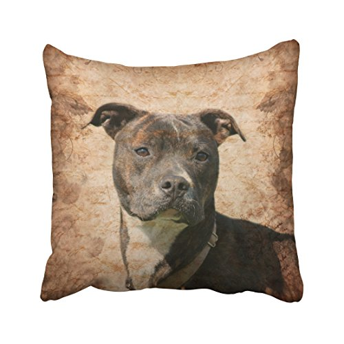 (Capsceoll pit bull terrier Decorative Throw Pillow Case 18X18Inch,Home Decoration Pillowcase Zippered Pillow Covers Cushion Cover with Words for Book Lover Worm Sofa Couch)