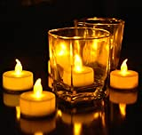 Tea Lights, Flameless LED Tea Lights Candles, Warm Amber, Ideal Wedding, Party, BBQ, Holidays, Pack of 24