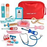 Beebeerun Role Play Doctor Kit for 4 5 6 7 8 Kids Girls Boys,Pretend Play Wooden Medical Kit Set,19 Pieces with a Medical Carry Bag