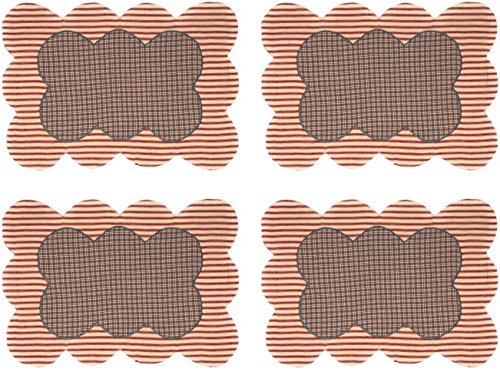Summer's Edge Scalloped Striped Appliqued Placemat Set 12x18