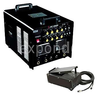 Stamos Germany - S-AC 200P - Equipo de soldar TIG MMA AC/DC - Alu - Impulso - 230 V - max. 200 A - ED 60 % - HF - alta frecuencia - 30 kg - Pedal