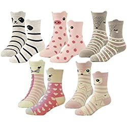 HzCodelo Kids Toddler Big Little Girls Fashion Cotton Crew Seamless Socks -5 Pairs,Multicolor-BOV,Shoe size 7.5-10/S(4-6)