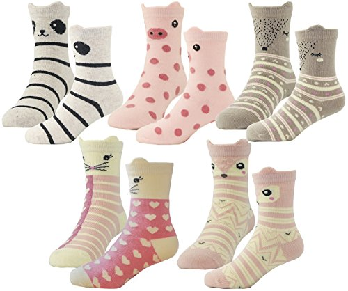 HzCodelo Kids Toddler Big Little Girls Fashion Cotton Crew Cute Socks -5 Pairs Gift Set,Multicolor-BOV,Shoe size 10.5-13/M ()