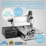 CNCShop CNC Router Engraving Machine Engraver Machine 3040T 4 Axis Desktop Wood Carving Tools Artwork Milling Woodworking with Rotary Axis (3040T 4 Axis)