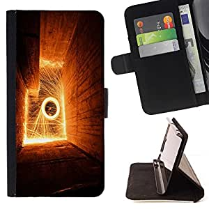 DEVIL CASE - FOR Sony Xperia M2 - Abstract Flames - Style PU Leather Case Wallet Flip Stand Flap Closure Cover