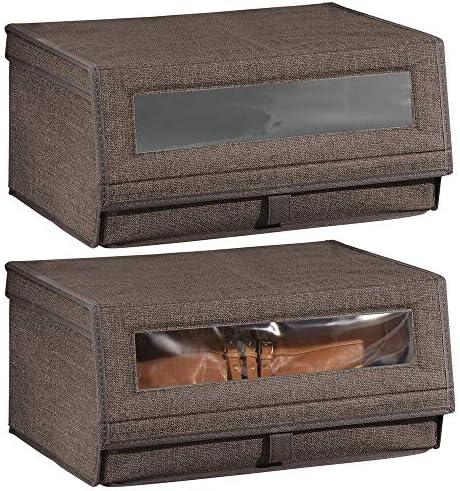 mDesign Juego de 2 cajas para zapatos de fibra sintética (grandes) – Cajas apilables con ventana, cierre adhesivo y tapa abatible – Prácticas cajas organizadoras para armarios – color café: Amazon.es: Hogar