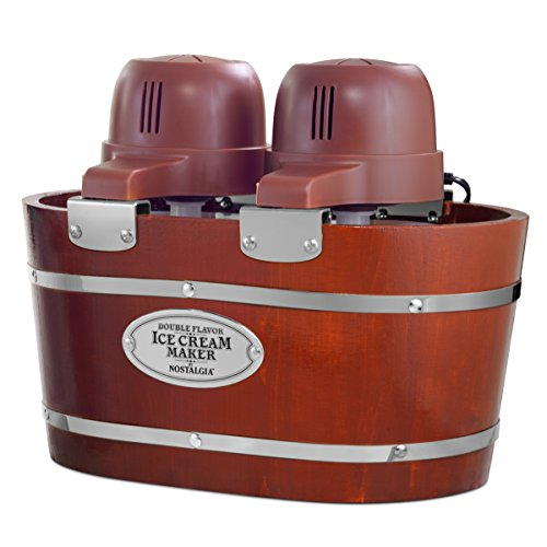 (Nostalgia ICMW200DBL Ice Cream Maker, 4 Quart, Wood)
