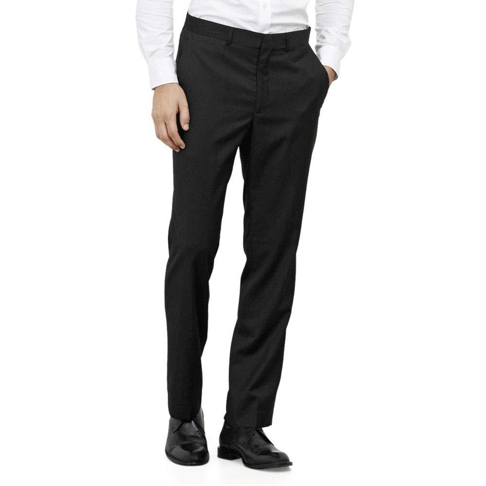 Kenneth Cole REACTION Men's Black Solid Suit Separate Pant, Black, 34x34
