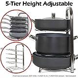 BTH Height Adjustable Pot Pan Organizer Rack Stainless Steel 5-Tier: 10, 11 & 12 Inch Heavy Duty Kitchenware Cookware Pot Rack Holder Kitchen Cabinet Countertop Storage Solution