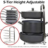 BTH Heavy-Duty Height Adjustable Pot Pan Stainless Steel Organizer Rack 5-Tier: 10, 11 & 12 Inch Kitchenware Cookware Pot Rack Cabinet Countertop Storage Solution