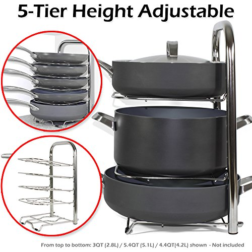 BTH Height Adjustable Pot Pan Organizer Rack Stainless Steel 5-Tier: 10, 11 & 12 Inch Heavy Duty Kitchenware Cookware Pot Rack Holder Kitchen Cabinet Countertop Storage Solution