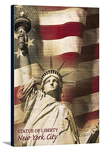 Statue of Liberty and Flag - New York City, New York (16x24 Gallery Wrapped Stretched Canvas) -