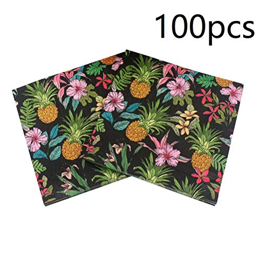 100pcs Hawaiian Luau Pineapple Napkins Paper Cocktail Napkins
