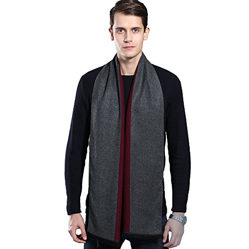 Mens Winter Cashmere Scarf - Ohayomi Fashion Formal Soft Scarves for Men(Grey/Red)