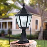 Modeen Outdoor Waterproof Transparent Glass Table Desk Lamp Column Lamp Continental Strong Aluminum Villa Patio Garden Pillar Post Door Light Street Light E27 Decoration Illumination (Color : Black)
