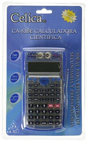 CELICA CA-83/BE Científica de 240 Funciones, 24 Niveles de Paréntesis, Algebra y Pre-Algebra 10+2 Dígitos, Color Azul...