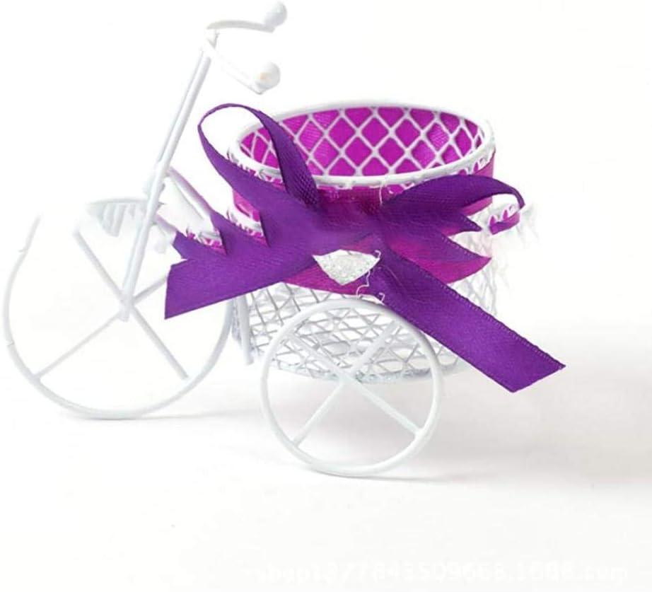 hou zhi liang Decoración 1pc Caramelo del Cuadro De Estilo Europeo Triciclo Forma De Caramelo De Chocolate Galletas Cesta Holder Regalos De Boda para Huéspedes (púrpura)
