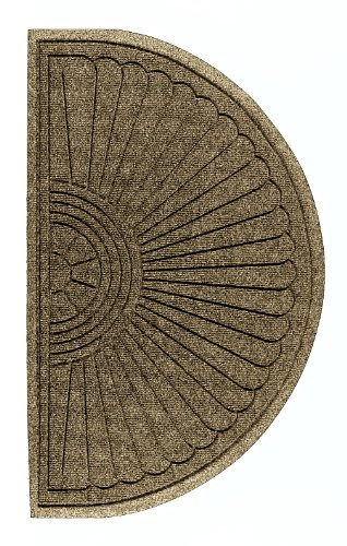 M+A Matting 272 Waterhog ECO Elite Polypropylene Entrance Indoor/Outdoor Floor Mat, Half Oval, 2.3' Length x 4' Width, Camel