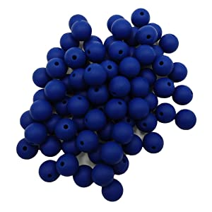 50pcs Sapphire Color Silicone Round Beads Sensory 15mm Silicone Pearl Bead Bulk Mom Necklace DIY Jewelry Making Decoration