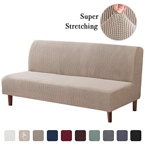 Soft Spandex Futon Cover 1 Piece Furniture Protector Stretch Armless Sofa Slipcover Furniture Protector Without Armrests Slipcover Small Checks Knitted Jacquard Cover (Futon, Sand)