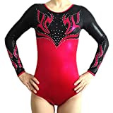 Demi Gymnastics Competition Leotard with Rhinestone Cherry TL041 (AXS, Cherry)
