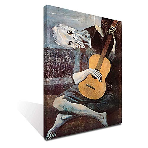 iFine Art Wall Art Inner-Framed Oil Paintings Printed on Canvas Modern Artwork for Home Decorations, Home Decor and Easy to Hang for Living Room, Bedroom-The Old Guitarist(Reproduction)