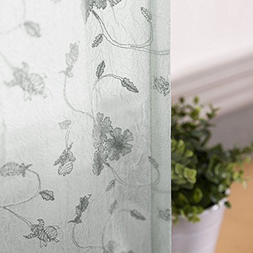 Crushed Panel (Floral Embroidered Voile Curtain Panels for Bedroom 95 inches Long Sheers Rustic Crushed Sheer Window Curtains for Living Room Rod Pocket Top Drapes (2 Panels, Grey))