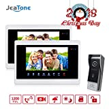 Jeatone 7 inch Touch Panel 2 Monitor Video DoorPhone Unlocking, Monitoring, Taking Pictures Intercom HD 1200TVL Doorbell 10Outdoor Panel