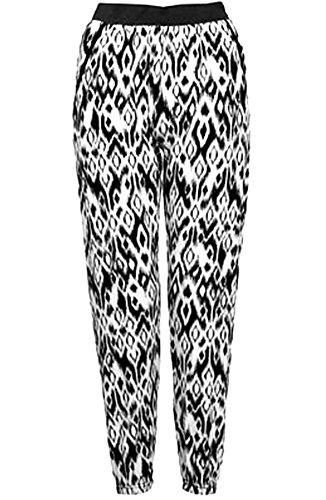 Taille blanc Imprimé Noir Noir 21fashion Femme Pantalon Unique 075Zxqw8Iw