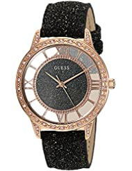 GUESS Womens Stainless Steel Glitz Leather Casual Watch, Color Black (Model: U1014L1)